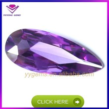 low price amethyst colored cubic zirconia bead 8*12 mm pear shape gemstone
