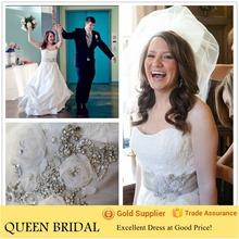2015 Latest Custom wedding dress sweetheart sleeveless satin beaded sash fat women bridal dresses
