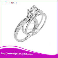 2015 unique fashion Diamond Princess cut 14k white gold ring