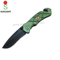 Black coating blade green aluminum handle with belt cutter outdoor survival emengency knife