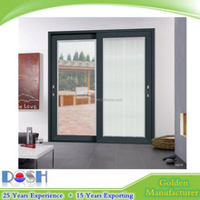 hot sale house gate designs Aluminium sliding door with blind for household