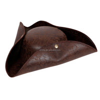 Deluxe Pirate Hat Distressed Leather Outfit Accessory for Indiana Fancy Dress Party hat HT2985