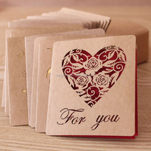 Fashion Customized Creative Kraft Paper Handmade Love/Tree Hollow Greeting Card