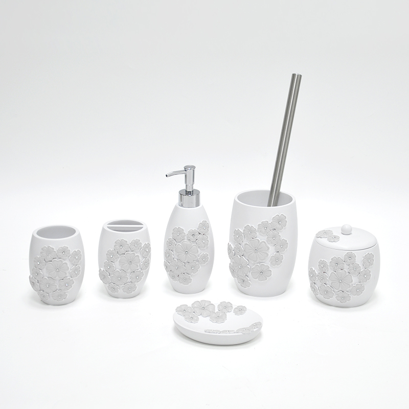Decorative white flower bathroom accessory set buy for White bath accessories sets