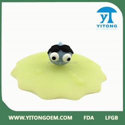 cheap cute flower fruit animal silicone rubber cup lid/cover glass bottle cover