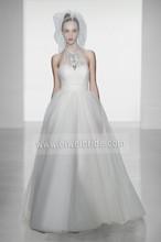 S572 Halter Sleeveless Floor-length Ball Gown Tulle Rhinestone Belt for Wedding Dresses
