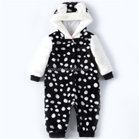 High quality polka dot fleece romper cute baby christmas clothes for winter