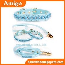 Amigo Pet shinny faux leather material bling bling crystal pet dog collars and leashes set