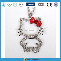 cute Hello Kitty shaped with bowknot rhinestone pendant necklace