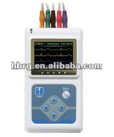 Cardiac monitor with 3 digital channel 12 lead dynamic ecg recorder instrument and a color LCD data transmission