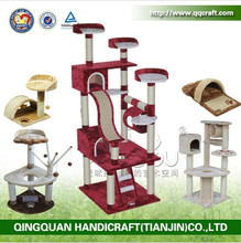 QQGY Factory Price Wholesale Luxury Indoor Cat House Sisal Cat Tree House