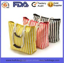 fashion rope handle handbag for women custom printed canvas handbags