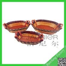 New design oval wholesale wooden serving tray set wholesale/ wedding fruit basket decoration