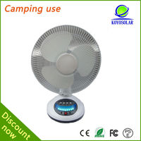 12 inch dc 12v LED rechargeable solar table fan