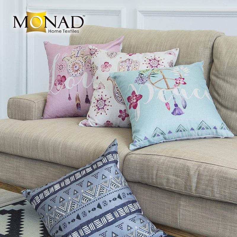 Монада Уникальный бледно-розовый и серый ткань наволочки