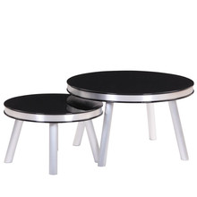 Germany Unique Design Black PU High Gloss Round MDF Coffee Table