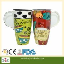Full decal design fashionable lady custom design tall coffee mug