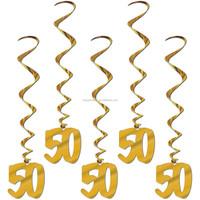 50th Birthday Golden Wedding Anniversary party Foil Hanging Swirl Decoration