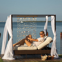 Soho double seats with adjustable back outdoor rattan lounge with curtains beach day bed