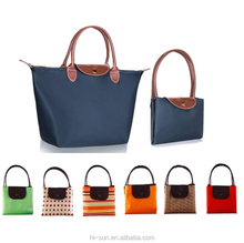 Synthetic Leather Handle Folding Bags Reuseable Promotional polyester Foldable Shopping Bag
