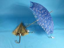 innovative golden frame double layer with lace striaght sun umbrella