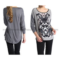 Latest Long Sleeve Crew Neck Floral Printed Grey Ladies T-shirt And Tops