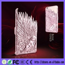Fashion Lovecrazy Luxury 3D Angel Wings Pattern PC Metal Back Cover Case For Apple Iphone