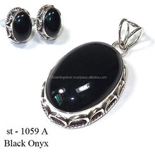 Black Onyx pendant studs set wholesale Value 925 silver jewelry