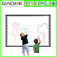 """Four users writing active size 78"""" 82"""" 96"""" digital interactive whiteboard omron touch screen software for elementary classroom"""