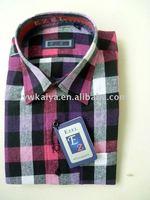 plaid casual men shirt with short sleeves china supplier cotton shirt
