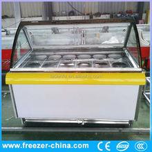 Ice cream display showcase chiller amoniaco congelador equipos de refrigeración para uso comercial