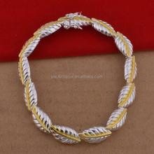 european style 925 sterling silver leaf bracelet costume jewellery