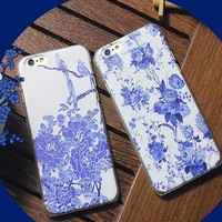 NEW custom blue and white porcelain protective case for iphone 6 plus phone cover