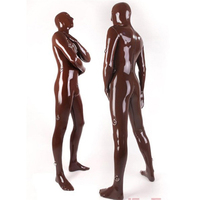 2015 new fashion Brown sexy fetish latex zentai bodysuits Rubber Clothing for men plus size Hot sale