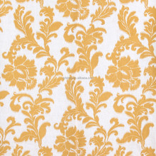Nature Cotton Linen Yellow Floral Pattern Printing Curtain Fabrics