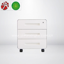 round corner/small filing cabinet/under desk 3 small drawer/movable/metal cabinet made in China