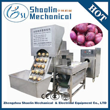 fully automatic onions peeling machine with onion root cutter for sale
