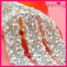 Fashion rhinestone bridal sash crystal applique for wedding dresses