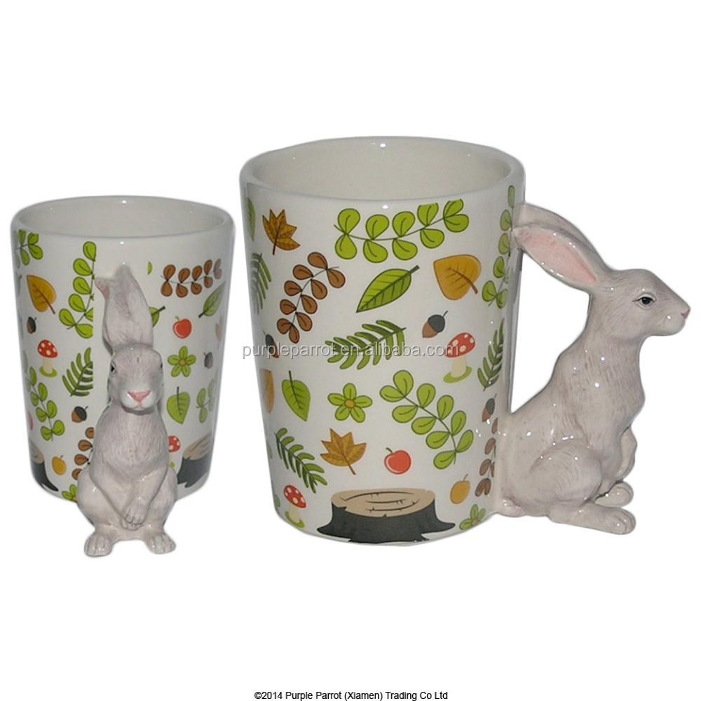 Ceramic woodland rabbit animals shaped handle mug buy for Animal shaped mugs