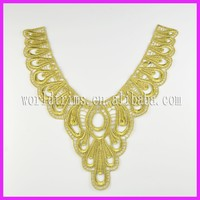 Newest crochet cording gold lace trim for clothing WNL161