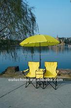 Double beach folding chair with umbrella