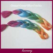 Omber rainbow color jumbo braid hai/synthetic jumbo braiding hair/x-pression synthetic braiding hair---Orange+Green+Blue+Fuschia