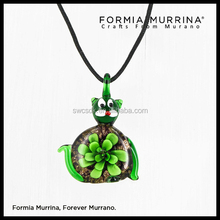 Cat animal murano flower glass art pendant necklace