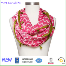 Women's Chevron Print Infinity Scarf with Green Tassels