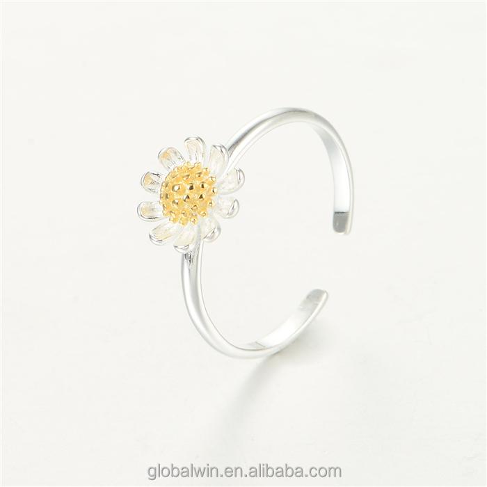 Nova Arrivial Moda Ouro Projeto Banhado Sólidos Anéis de Prata Da Menina de Flor