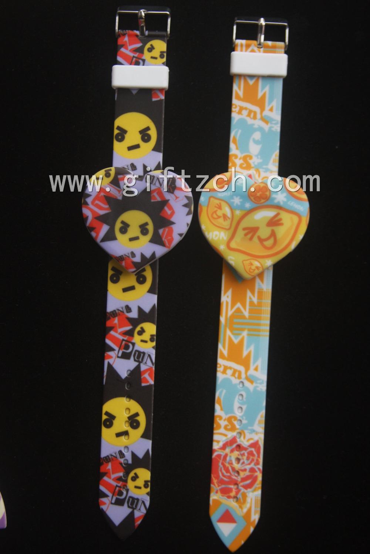 Print flower children silicone led digital wrist band watches