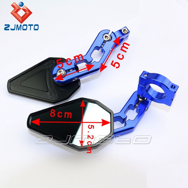 Cnc 7 8 Quot Bar End Mirror Handlebar Blue Rear Side Mirror