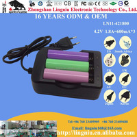 Factory price best selling 1.8A 3 slots Europe plug 18650 lithium battery charger