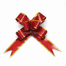 Red Gold Lines Butterfly Tie Pull Ribbon Bow For Wedding Decoration and Ornament
