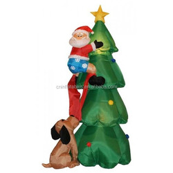 inflatable decoration lighting/6 Foot Inflatable Santa Claus Climbing on Christmas Tree Chased by Dog